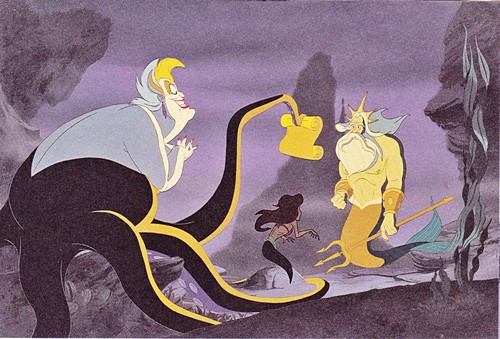 Walt Дисней Production Cels - Ursula, Princess Ariel & King Triton