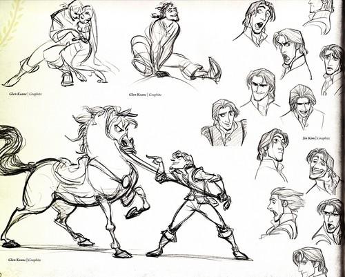 "Walt Disney Sketches - Eugene ""Flynn Rider"" Fitzherbert, Maximus & Princess Rapunzel"