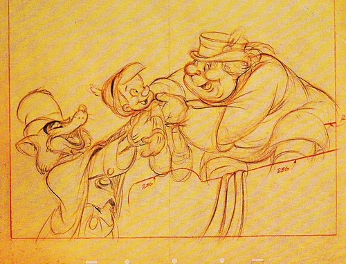 Walt Disney Sketches - John Worthington Foulfellow/Hornest John, Pinocchio & The Coachman
