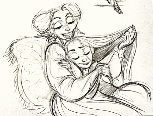 Walt 디즈니 Sketches - Mother Gothel & Princess Rapunzel