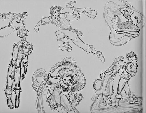 """Walt Дисней Sketches - Princess Rapunzel, Pascal, Maximus, Eugene """"Flynn Rider"""" Fitzherbert"""
