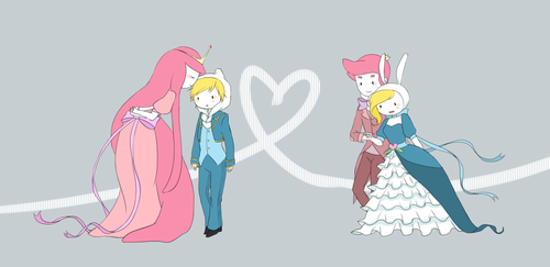 Adventure Time With Finn and Jake wallpaper probably containing scissors entitled bubblegum finn & gumball fionna