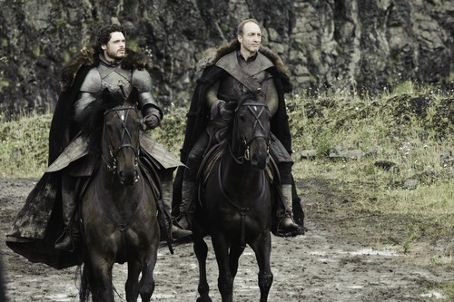 Game of Thrones پیپر وال with a horse trail, a horse wrangler, and a lippizan titled Robb Stark & Roose Bolton