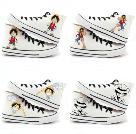 hand painted luffy high puncak, atas shoes