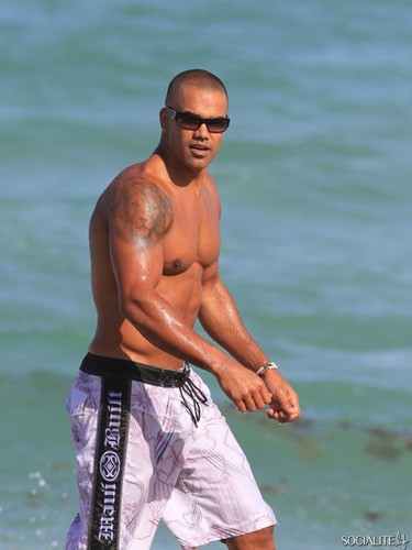 Shemar Moore 壁紙 probably with a 大きな塊, ハンク and swimming trunks titled shemar moore enjoying miami ビーチ