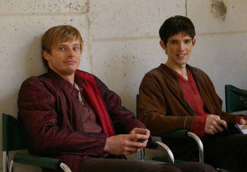 Bradley James wallpaper titled 	Merlin - Behind the Scenes