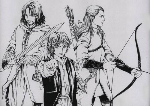 Il Signore degli Anelli wallpaper with Anime called Aragon Legolas Frodo