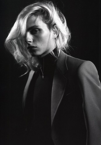 andrej pejic Hintergrund containing a business suit entitled Arena Homme +