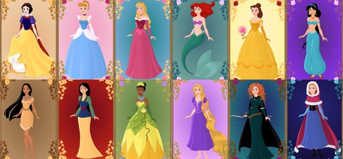 Disney Princess karatasi la kupamba ukuta entitled Disney Princess Lineup (made using Azalea's Dress up Dolls)