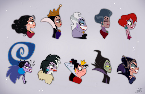 Childhood Animated Movie Villains wallpaper entitled Disney Villainesses