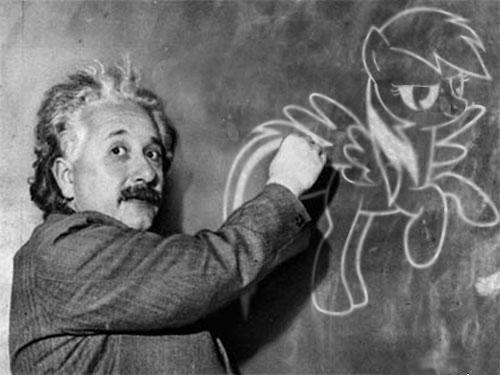 Einstein draws Rainbow Dash