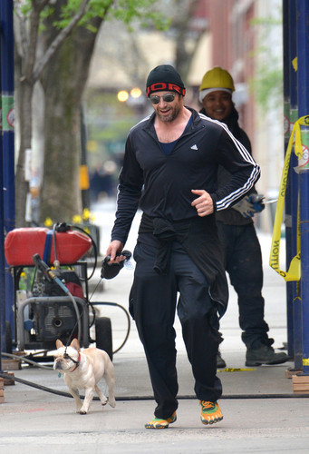 Hugh Jackman Out Jogging in NYC