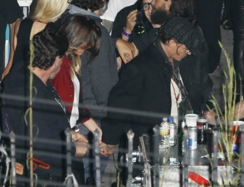 Johnny Depp and Amber Heard at Rolling Stones backstage
