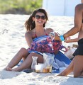 Julianne Hough and Nina Dobrev hanging out with friends on the de praia, praia in Miami