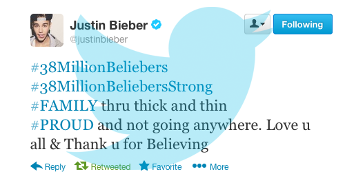 Justin reached 38 million followers on Twitter! Congrats Justin!