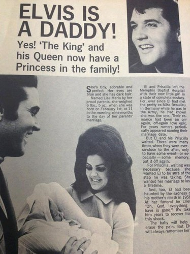 Elvis Aaron Presley and Lisa Marie Presley wallpaper containing anime titled Lisa is born ! (Newspaper)