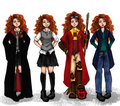 Merida in Hogwarts - brave fan art