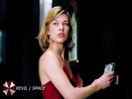 Resident Evil Movie پیپر وال possibly containing a leotard, a کاک, کاکٹیل dress, and tights entitled Resident Evil