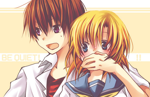 Higurashi no Naku Koro ni achtergrond possibly with anime titled Keiichi and Rena