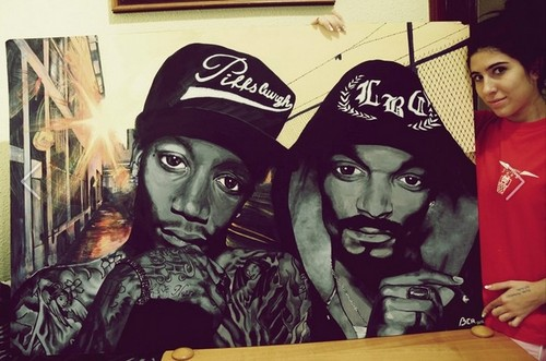 Snoop Dogg with Wiz Khalifa acrylic paint