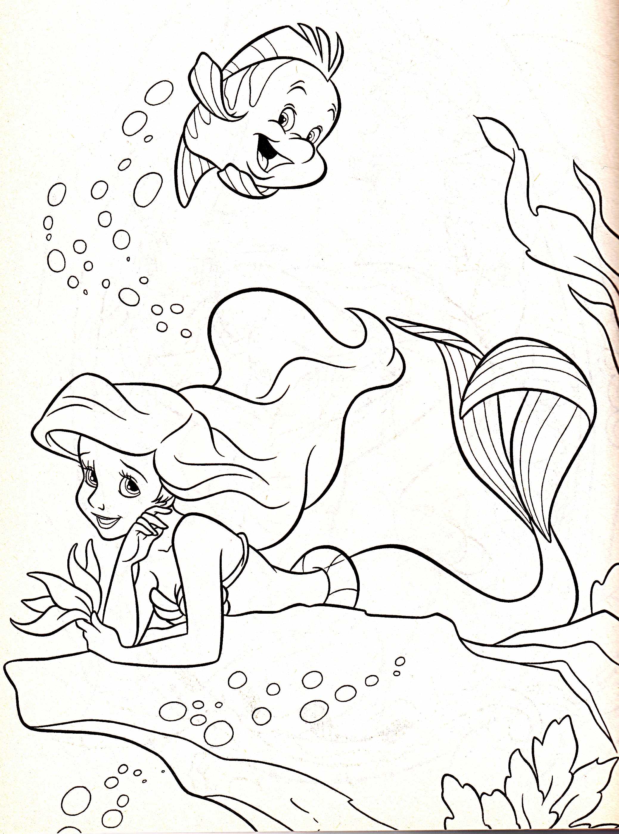 Walt Disney Coloring Pages - Flounder & Princess Ariel