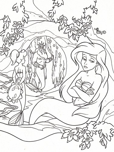 Walt Disney Coloring Pages - Princess Aquata, King Triton & Princess Ariel