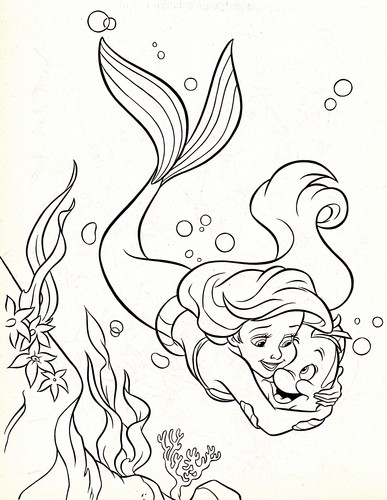Walt Disney Coloring Pages - Princess Ariel & platessa, passera pianuzza