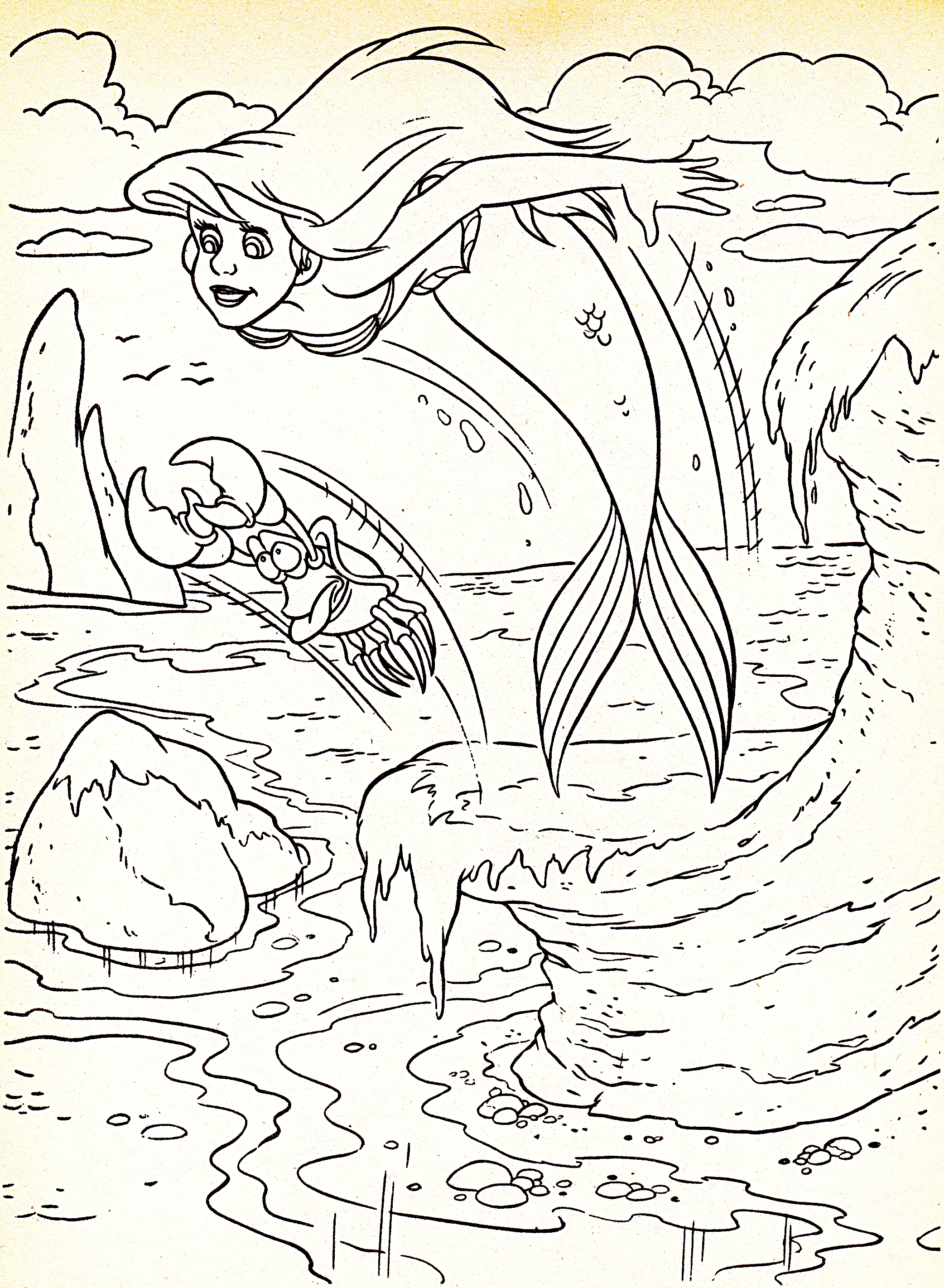 walt disney coloring pages princess ariel sebastian walt disney characters photo 34377434