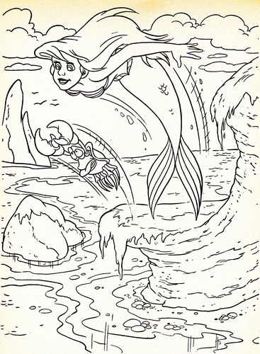 Walt Дисней Coloring Pages - Princess Ariel & Sebastian