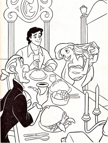 Walt disney Coloring Pages - Sir Grimsby, Prince Eric, Sebastian & Princess Ariel