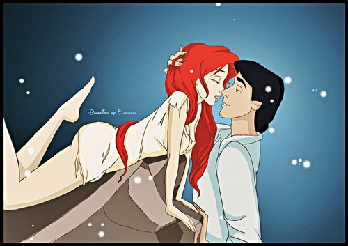 Walt ディズニー ファン Art - Princess Ariel & Prince Eric