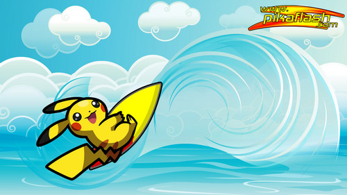Pikachu wallpaper probably containing anime entitled pikachu surfing