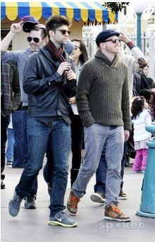 Luke with his Friends Jesse Tyler Ferguson and Justin Mikita, in Disneyland, (January, 16 2012)