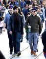 Luke with his دوستوں Jesse Tyler Ferguson and Justin Mikita, in Disneyland (January, 16 2012)