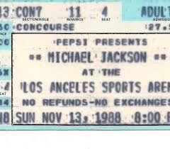 A Vinatage show, concerto Ticket Stub From A Michael Jackson show, concerto