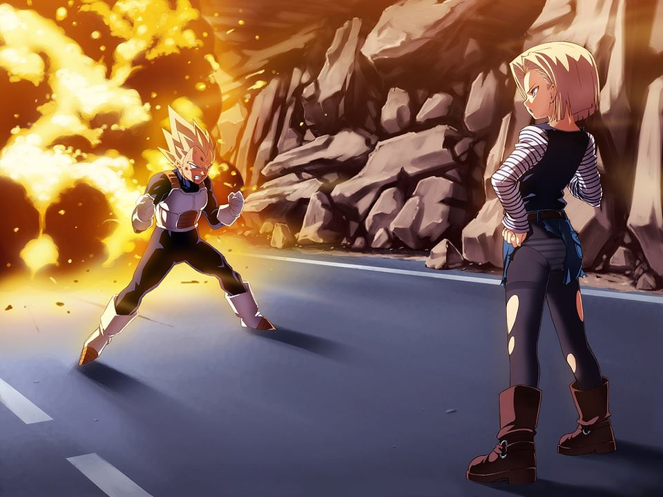 Dragon Ball Females Images Android 18 Vs Vegeta HD