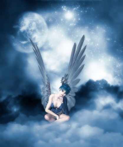 Angel Sleeps on Blue awan