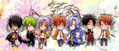 Kugura, Yataka, Kannagi, Arata Hinohara, Yorunami, Akachi and Masato Kadowaki