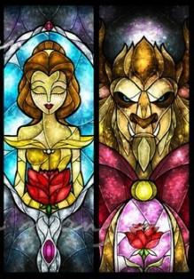 Người đẹp và quái vật hình nền containing a stained glass window entitled Beauty & Beast
