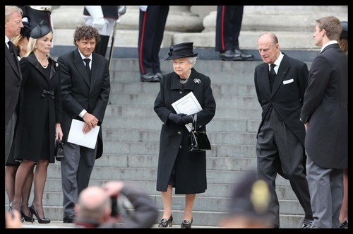 Queen Elizabeth II wallpaper with a business suit and a suit titled Ceremonial Funeral Services for Margaret Thatcher