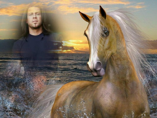 Christian Kane wallpaper probably containing a lippizan and a horse trail titled Christian