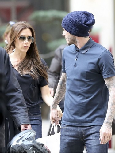 David and Victoria Beckham in Paris