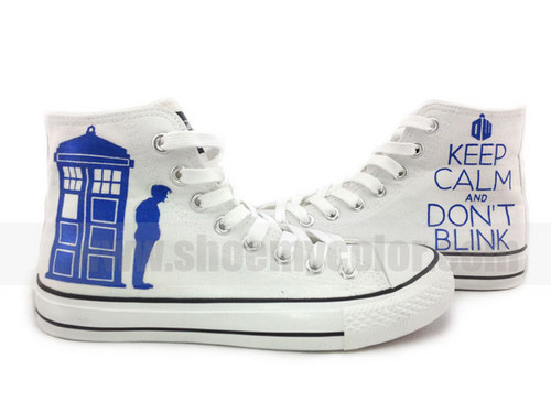 Doctor Who hand painted high سب, سب سے اوپر shoes