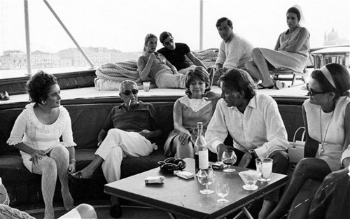 Elizabeth Taylor and Richard Burton with Aristotle Onassis and his son