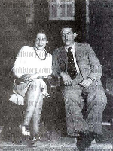 Emir Hasan al-Atrash, governor of the Druze Mountain, with his wife, the Syrian singer Asmahan