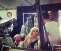 Gaga Backstage at Versace's Fashion Show (May 15) - lady-gaga photo