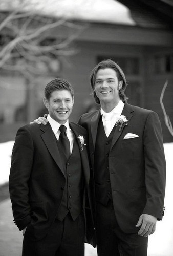 Jared Padalecki And Jensen Ackles Wallpaper Containing A Business Suit S Wedding