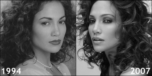 Jennifer Lopez then and now 1994, 2007