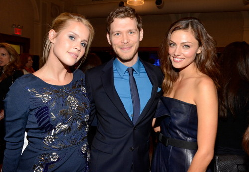 Joseph morgan with Claire Holt and Phoebe Tonkin at The CW's 2013 Upfront