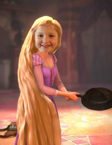 Lila with frying pan